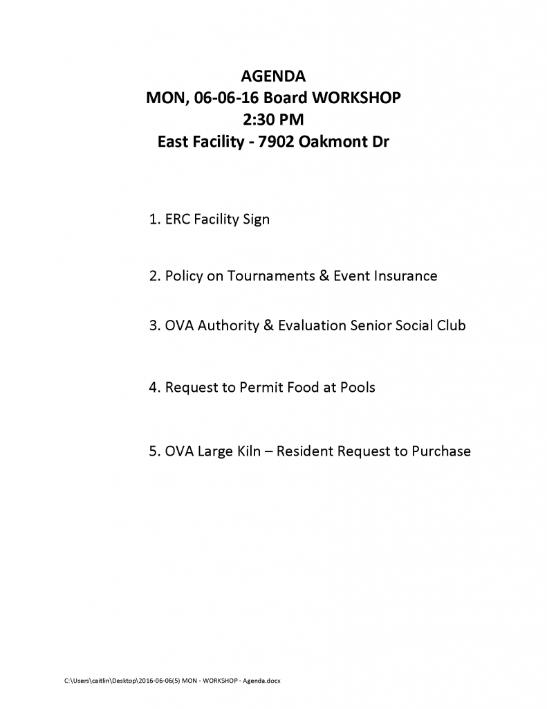 2016-06-06(5) MON - WORKSHOP - Agenda