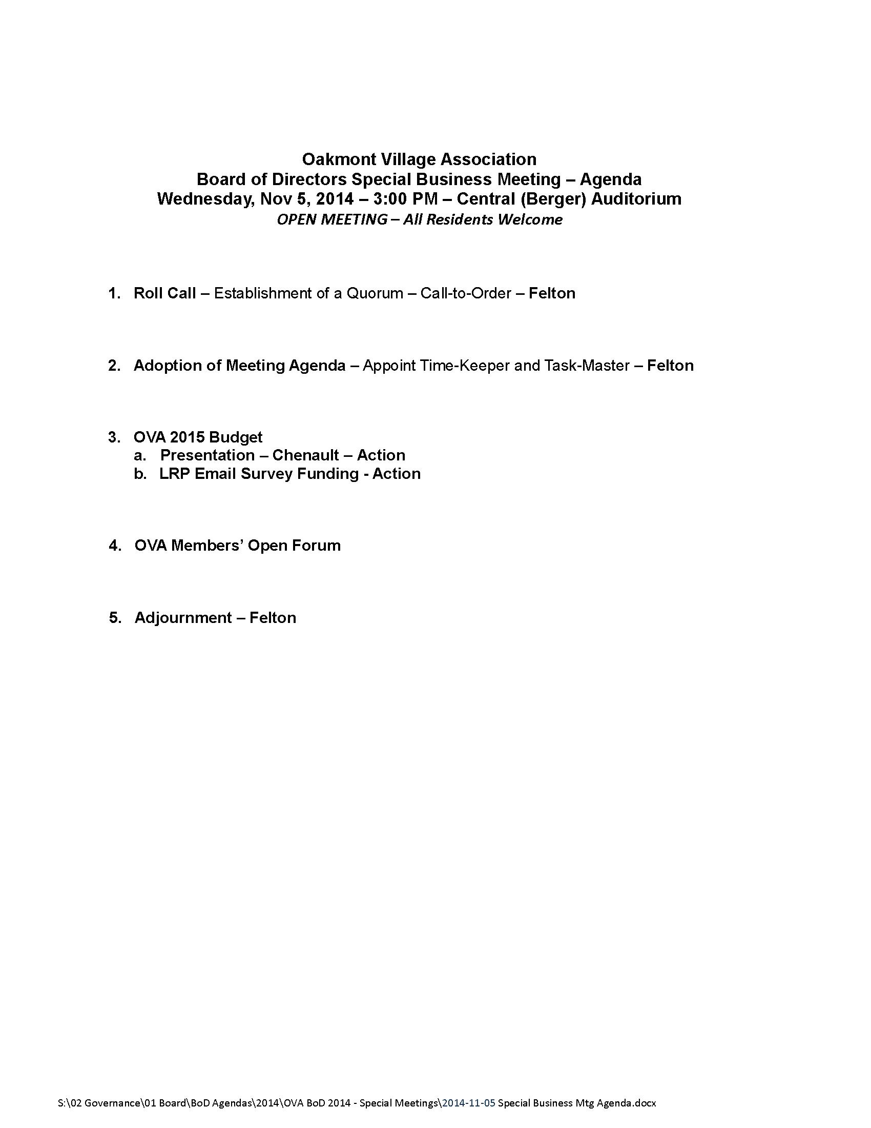 2014-11-05 Special Business Mtg Agenda
