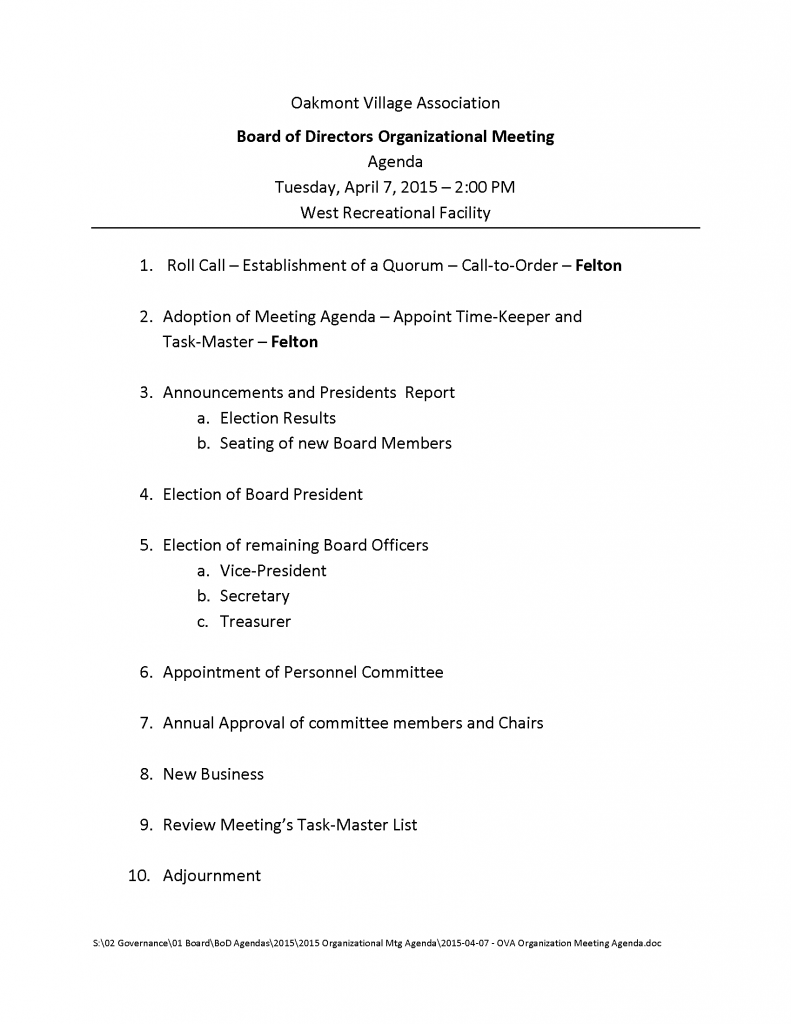 2015-04-07 - OVA Organization Meeting Agenda
