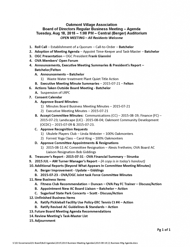 2015-08-18 (2) Business Mtg Agenda