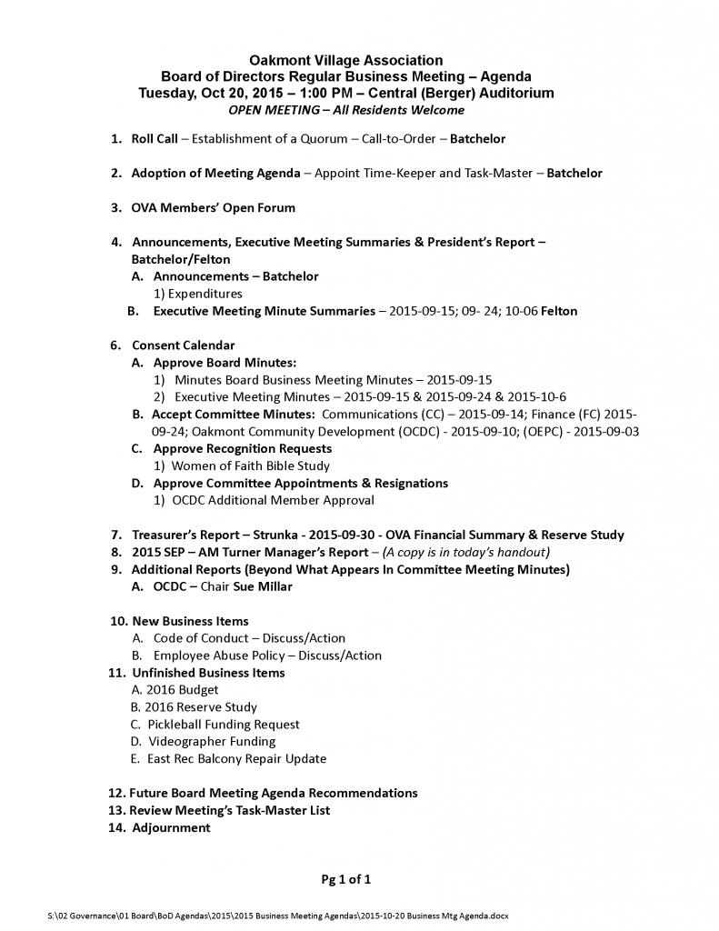 2015-10-20 Business Mtg Agenda