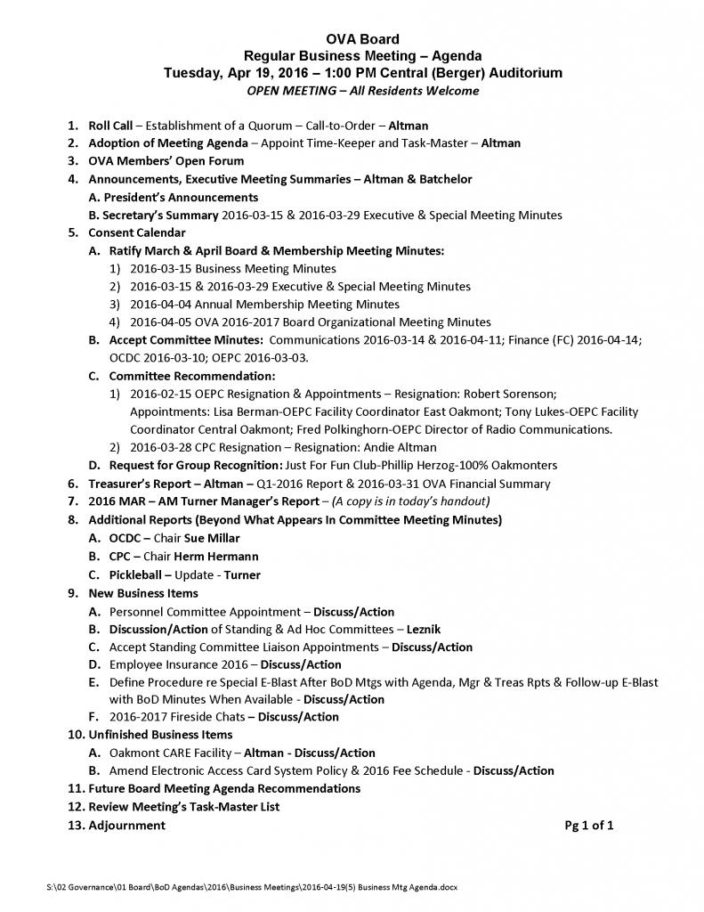 2016-04-19 (5) Business Mtg Agenda