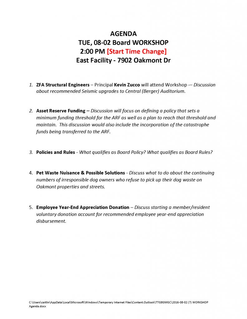 2016-08-02 (7) WORKSHOP Agenda