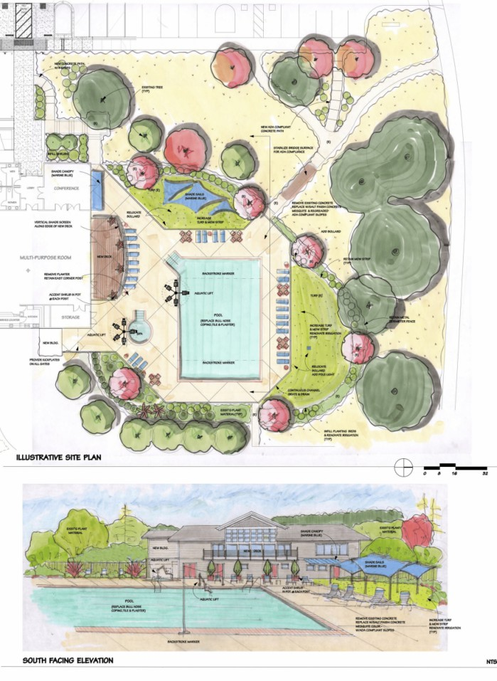 Color rendering of landscape, pool & exterior for East Rec remodel by Lori Cagwin