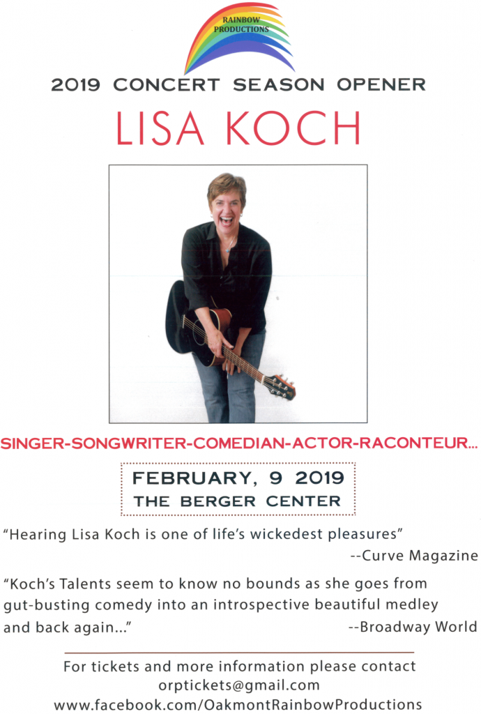 Lisa Koch Concert sponsored by Oakmont Rainbow Productions February 9 in the Berger Center.