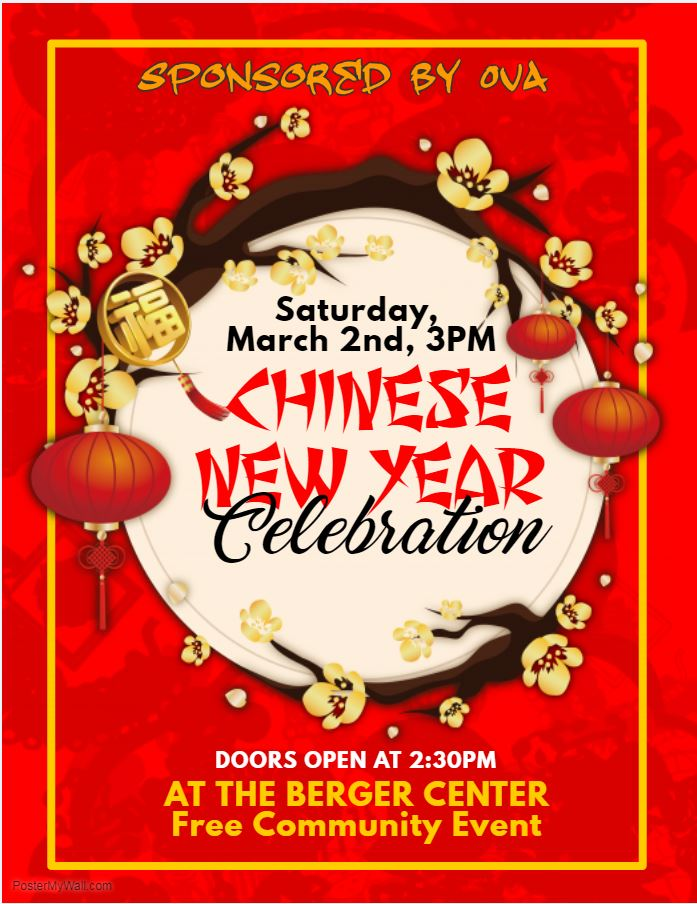 Chinese New Year Celebration on Saturday, March 2, at 3 PM in the Berger Center