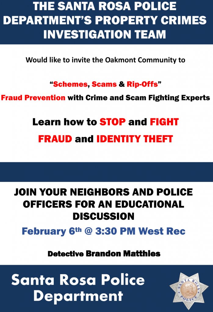 Fraud Prevention Seminar February 6 at 3:30 PM in the West Rec Center