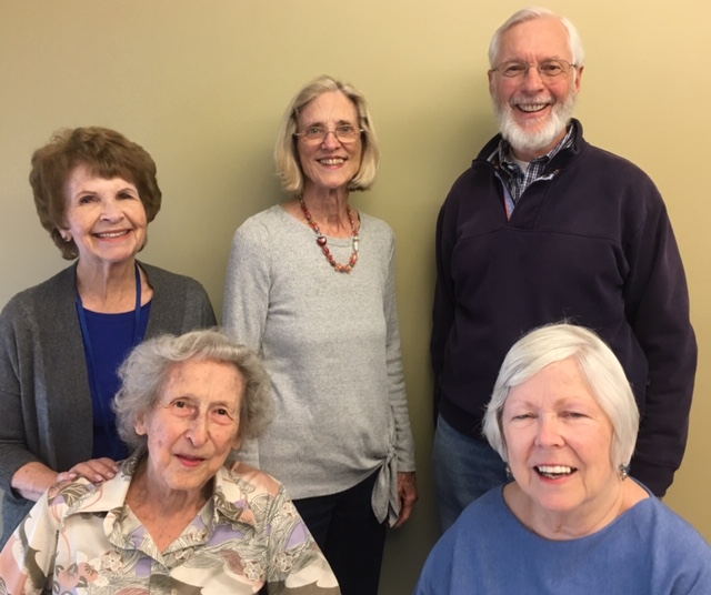 In late April Playreaders presented 4,000 Miles by Yasmin Reza. Readers were: (standing) Norma Doyle, Penny MacKenzie, John Dolan, (seated) Kay Hardy and Ginna Zoellner.