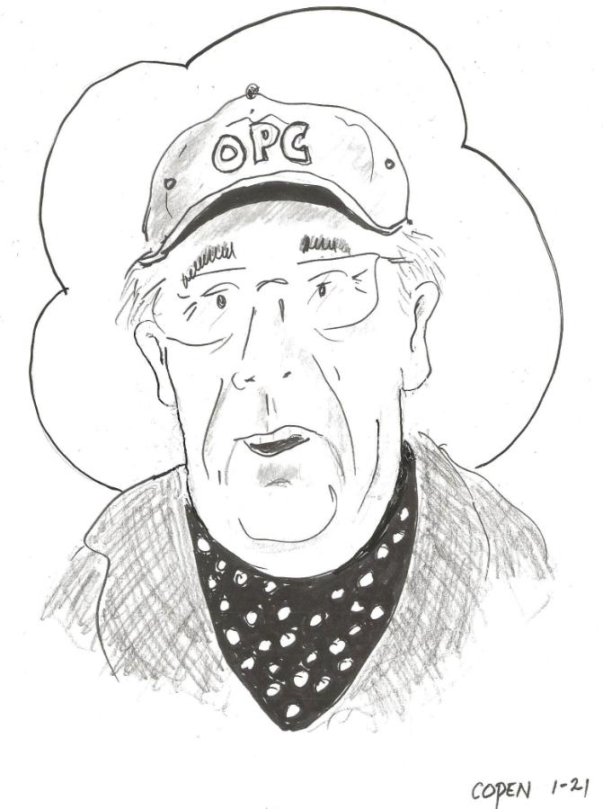 Pickleball Peter Copen caricature of Peter Schmidt
