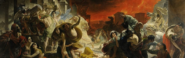 The Last Day of Pompeii by Karl Brullov from Public Domain via Wikimedia Commons