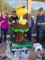 Woodstock has a new coat of paint courtesy of the Oakmont Art Association.  Pam Simpson, Kathy Byrne, Joan Rumrill and Philip Wilkinson have rejuvenated him.  (Photo courtesy of Kathy Staples).